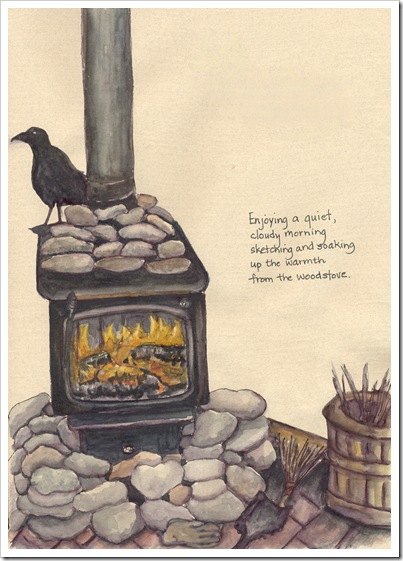 fire in the woodstove-image